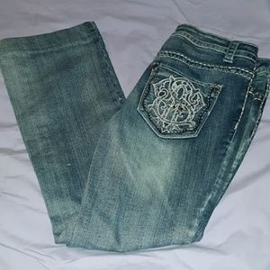 Paisley Sky Bling Thick Stitched Jeans Boot Cut 6